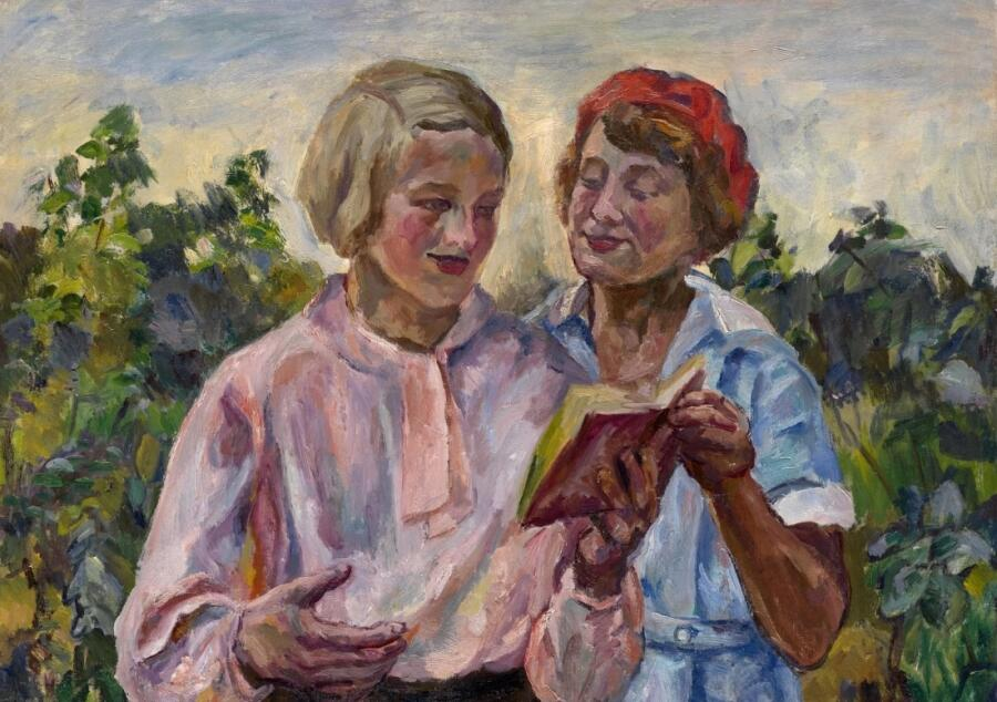 А. В. Лентулов, «Чтение стихов» (фрагмент)