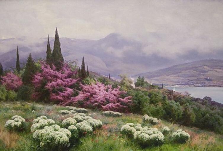 И. Е. Крачковский, «Весна в Крыму (Ялта. Иудино дерево в цвету)», 1902 г.