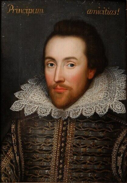 Недавно обнаруженный в семейной коллекции портрет елизаветинца (1610). Некоторые искусствоведы утверждают, что это единственный прижизненный портрет Уильяма Шекспира