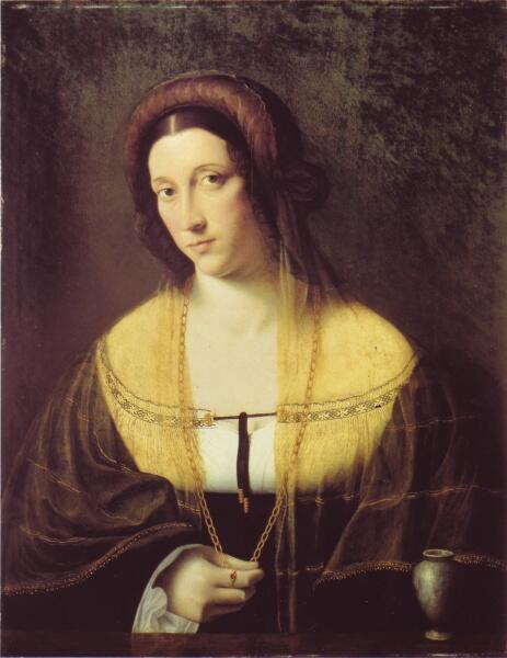Бартоломео Венето, «Портрет дамы с атрибутами Марии Магдалины». Предполагается что изображена Чечилия Галлерани
