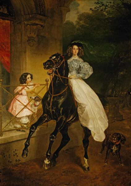 К. П. Брюллов, «Всадница. Портрет Джованины и Амацилии Пачини, воспитанниц графини Ю. П. Самойловой», 1832 г.