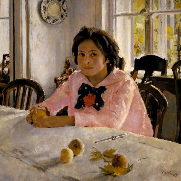 В. А. Серов, «Девочка с персиками (Портрет В. С. Мамонтовой)», 1887 г.
