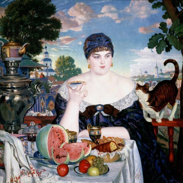 Б. М. Кустодиев, «Купчиха за чаем», 1918 г.