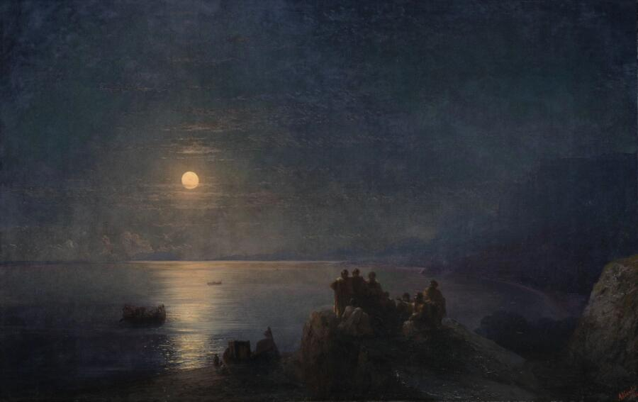 И. К. Айвазовский, «Поэты на побережье лунной ночью в Древней Греции», 1886 г.