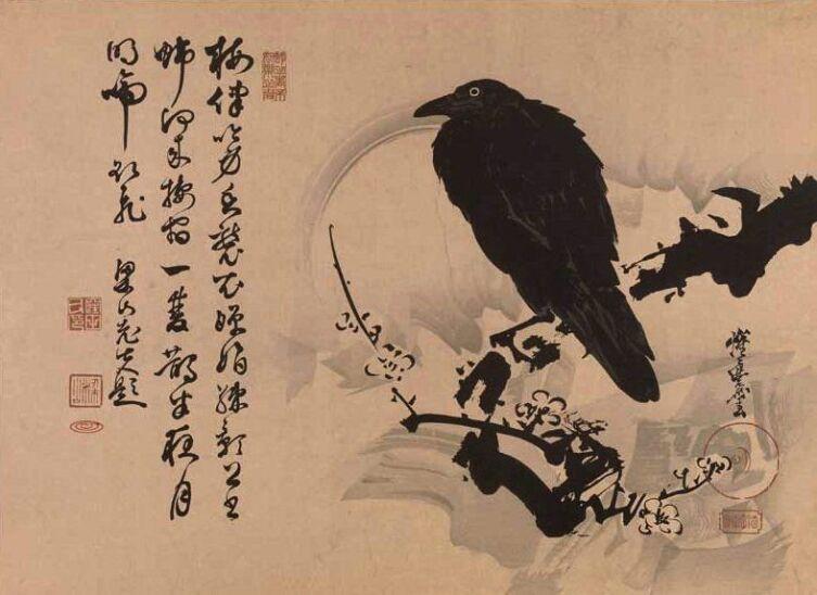 Кёсай Каванабэ, «Ворон на заснеженной сливовой ветке»