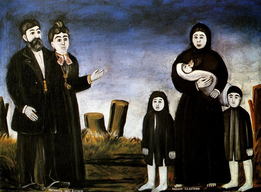 Нико Пиросмани (Пиросманашвили), «Бездетный миллионер и бедная с детьми», начало ХХ века