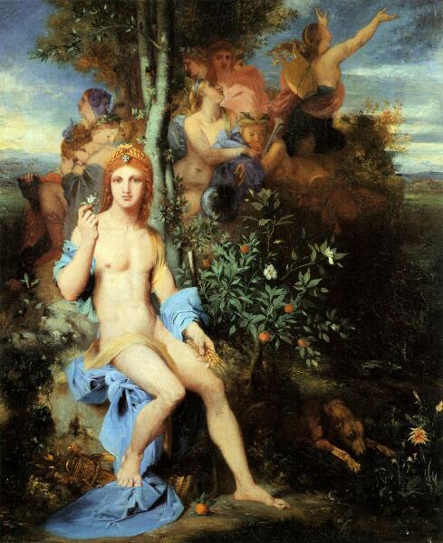 Гюстав Моро, «Аполлон и девять муз», 1856 г.