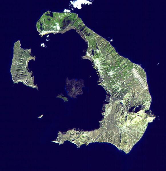 Кальдера о. Тира (Санторин), спутниковый снимок