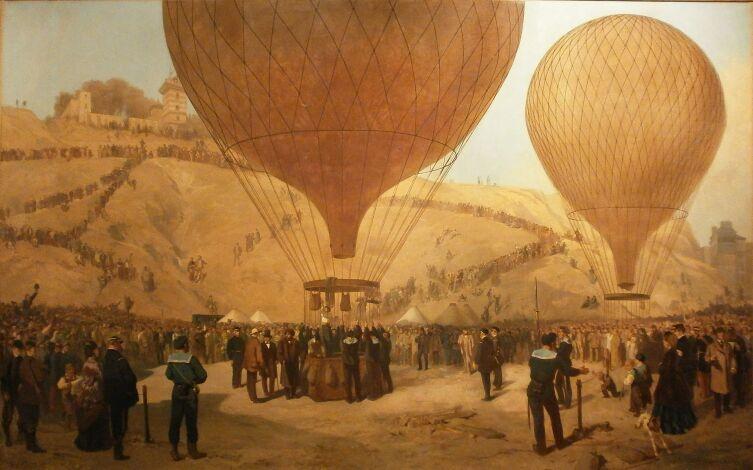 Отправление Гамбетты на воздушном шаре из Парижа, 1870 г.