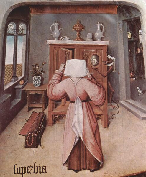 Иероним Босх, «Гордыня. Семь смертных грехов и Четыре последние вещи» (фрагмент), 1485 г.