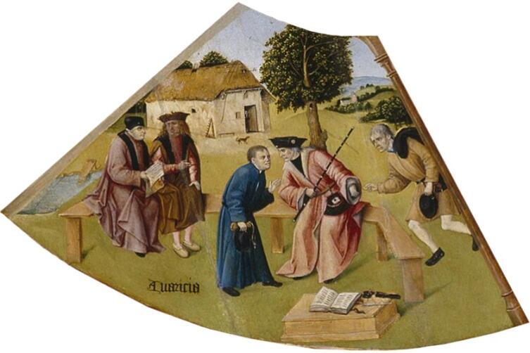 Иероним Босх, «Алчность. Семь смертных грехов и Четыре последние вещи» (фрагмент), 1485 г.