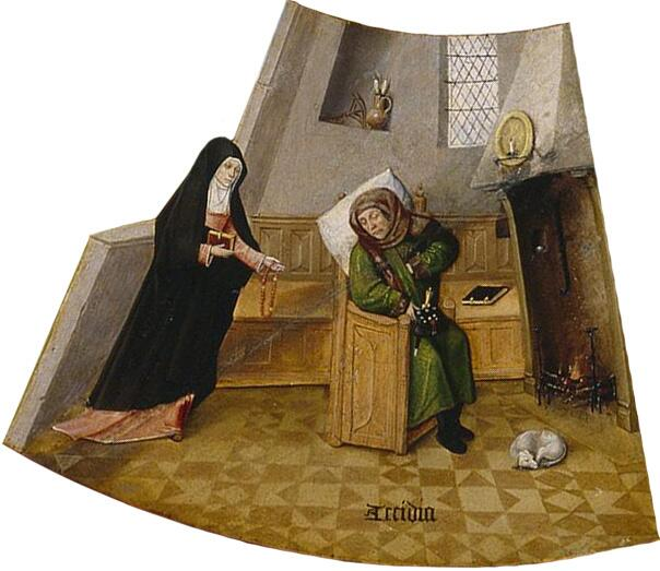 Иероним Босх, «Уныние. Семь смертных грехов и Четыре последние вещи» (фрагмент), 1485 г.