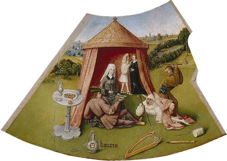 Иероним Босх, «Похоть. Семь смертных грехов и Четыре последние вещи» (фрагмент), 1485 г.