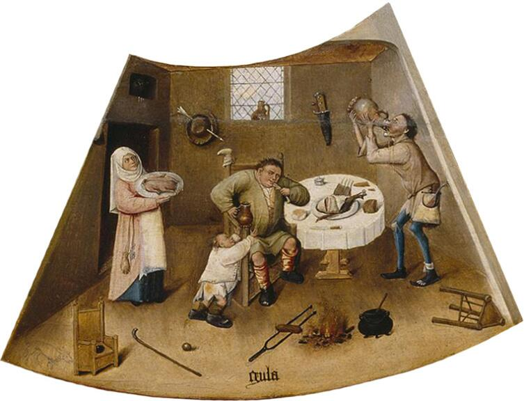Иероним Босх, «Обжорство. Семь смертных грехов и Четыре последние вещи» (фрагмент), 1485 г.