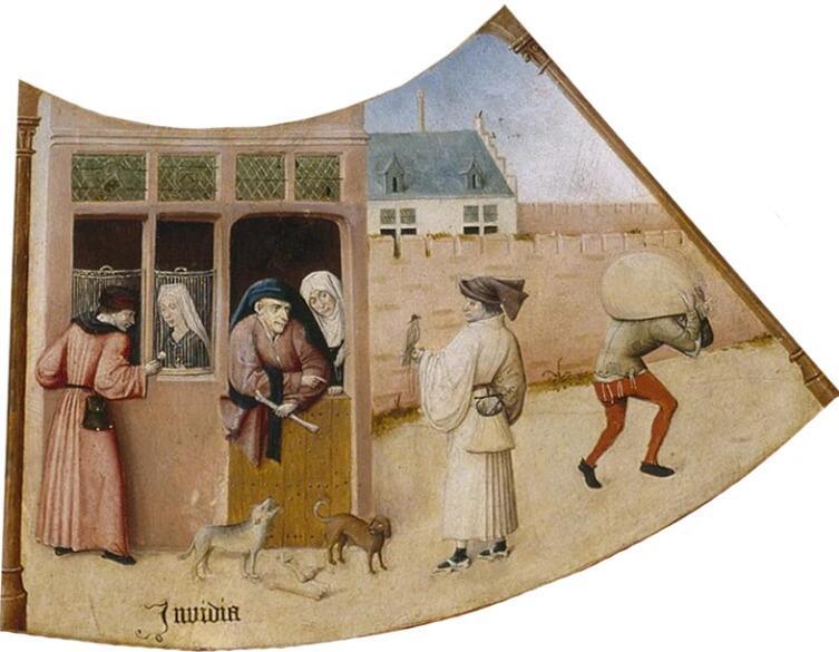 Иероним Босх, «Зависть. Семь смертных грехов и Четыре последние вещи» (фрагмент), 1485 г.