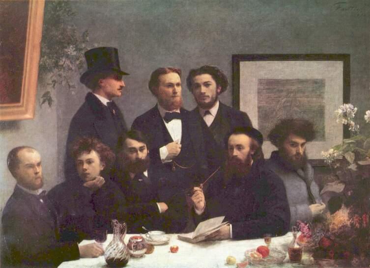 Анри Фантен-Латур ,«Поэты»,  1872 г. Слева сидят Поль Верлен и Артюр Рембо.