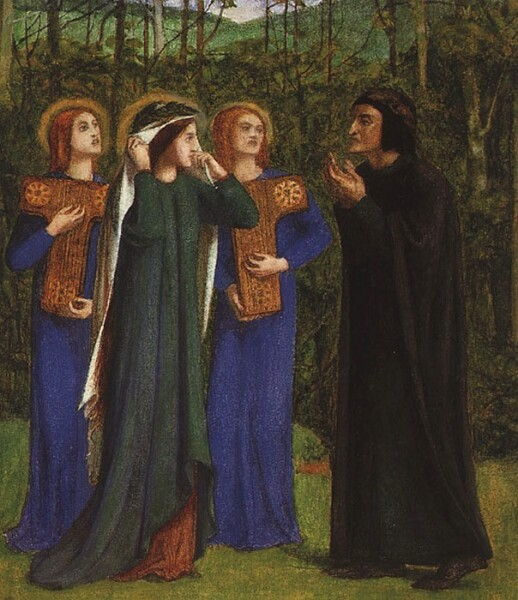 Данте Габриэль Россетти, «Встреча Данте и Беатриче в Раю», 1854 г.