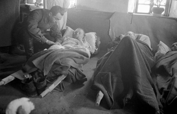 Военврач осматривает раненого в полевом подвижном госпитале в Курской области