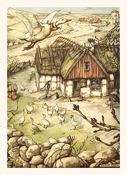 Антон Пик, «Путешествие Нильса с дикими гусями. Нильс покидает дом», 1940 г.