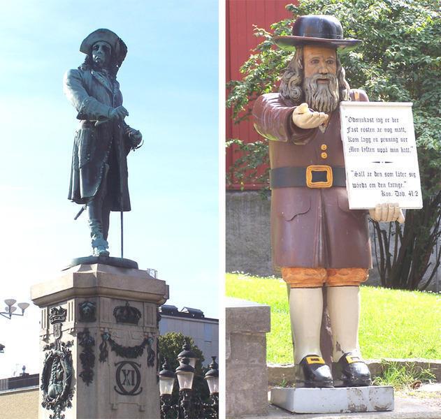 Реальные памятники Карлу и Розенбому в Карлскруне. Правда, старую статую Розенбома в виду износа (дерево всё-таки) заменили на новую