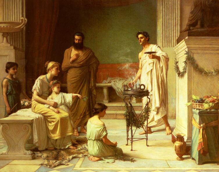 Джон Уильям Уотерхаус, «Больной ребенок в храме Асклепия», 1877 г.