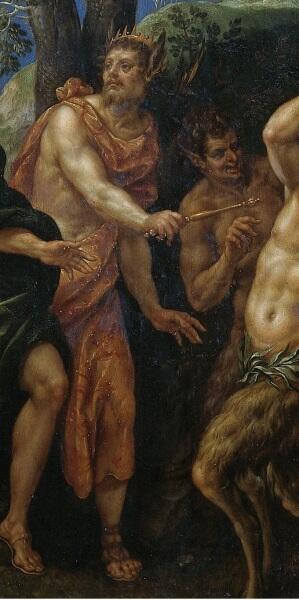 Хендрик де Клерк, «Состязание Аполлона и Пана», фрагмент «Мидас», в его руке — царский жезл, 1621 г.