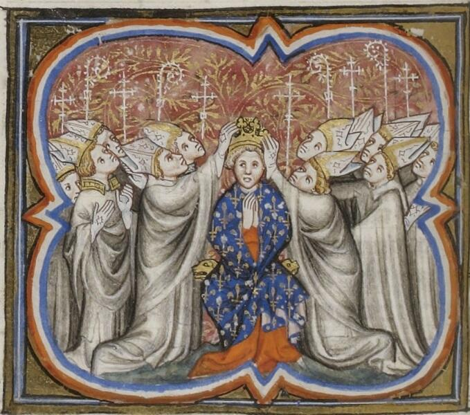 Коронация Филиппа II Августа. Миниатюра из «Больших французски хроник»