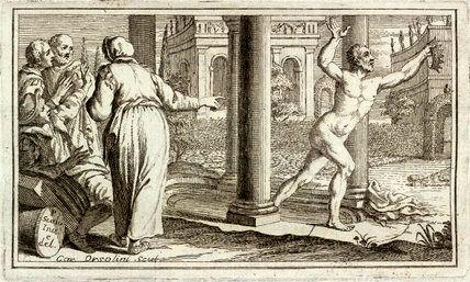 """Г. Маззучелли, «Архимед с криком """"Эврика"""" бежит к царю», 1737 г."""