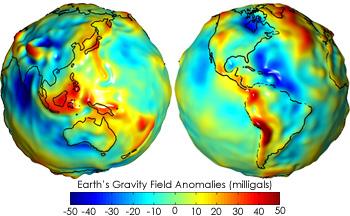 Гравитационные аномалии Земли по данным проекта «GRACE»