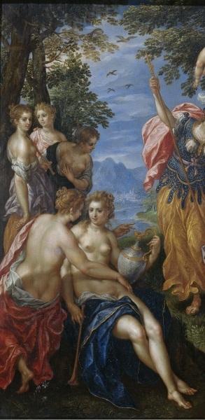 Хендрик де Клерк, «Состязание Аполлона и Пана», фрагмент «Нимфы», у каждой в руке — флейта, 1621 г.