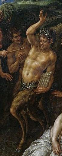 Хендрик де Клерк, «Состязание Аполлона и Пана», фрагмент «Пан», в его руке — флейта-сиринга, 1621 г.