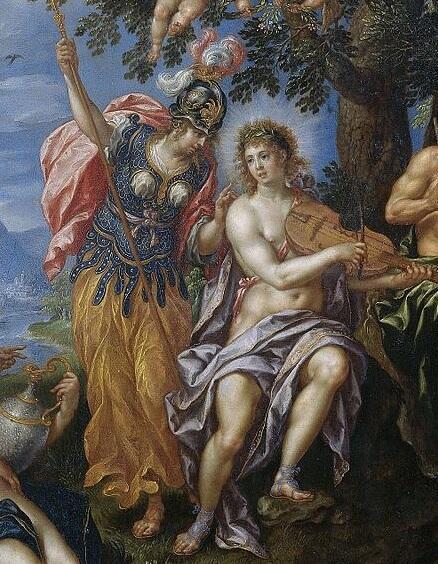 Хендрик де Клерк, «Состязание Аполлона и Пана», фрагмент «Афина Паллада и Аполлон», 1621 г.