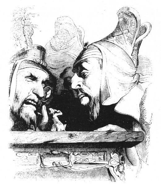 Жан Иньяс Изидор (Жерар) Гранвиль, «Великаны рассматривают Гулливера», 1840 г.
