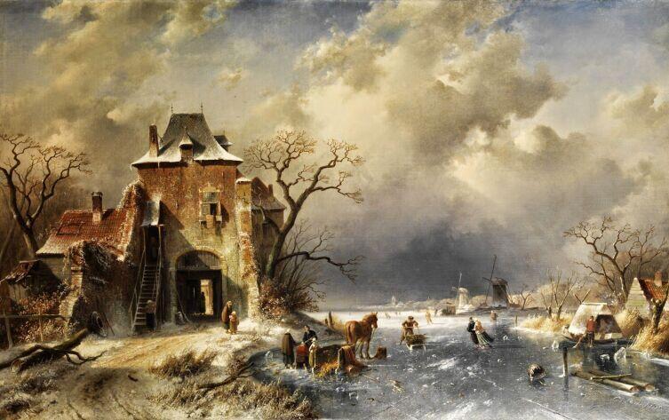 Шарль Анри Жозеф Лейкерт, «Зимний пейзаж», ХIХ век