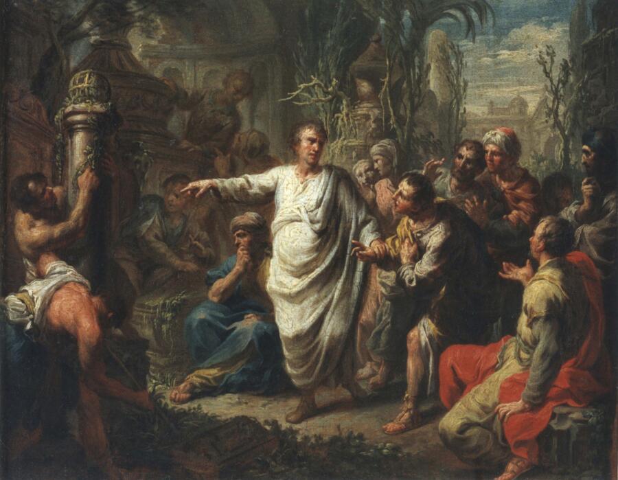 Мартин Кноллер, «Цицерон открывает гробницу Архимеда», 1775 г.