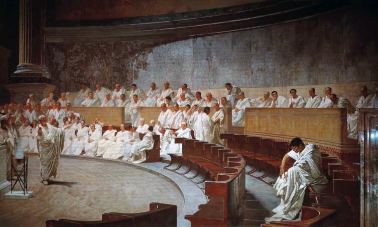 Чезаре Маккари, «Речь Цицерона против Катилины», 1888 г.