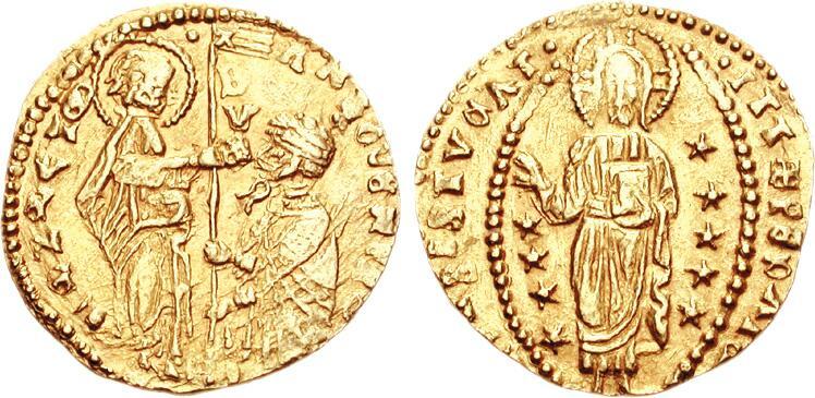 Цехин, Венеция, дож — Антонио Веньер, 1382 г.