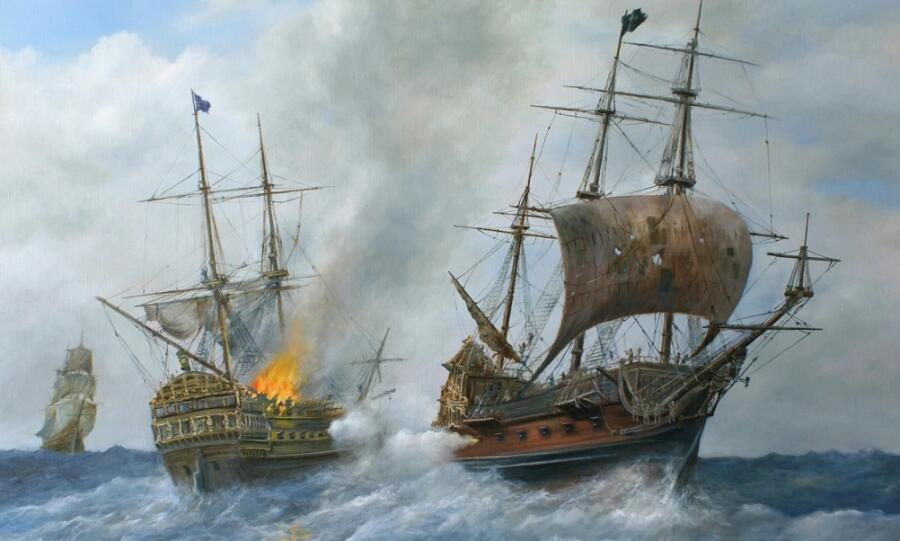 С. В. Дорофеев, «Пиратский галеон «Месть королевы Анны» атакует английский военный фрегат» (фрагмент), 2019 г.