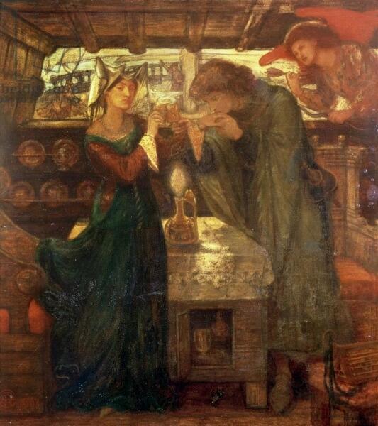 Данте Габриэль Россетти, «Тристан и Изольда пьют любовное зелье», 1867 г.