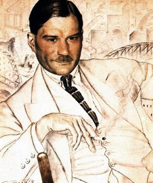 Б. М. Кустодиев, «Евгений Иванович Замятин», 1923 г.