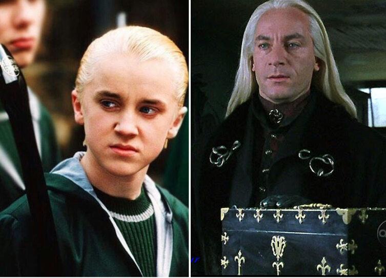 Драко и Люциус Малфои. Кадр из кинофраншизы «Гарри Поттер»