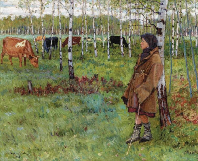 Н. П. Богданов-Бельский, «Мечтательность среди берез», 1930 г.