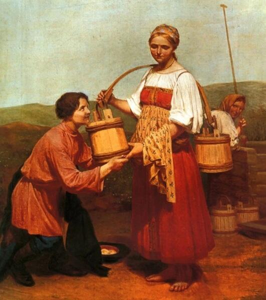 А. Г. Венецианов, «Встреча у колодца» (фрагмент), 1843 г.
