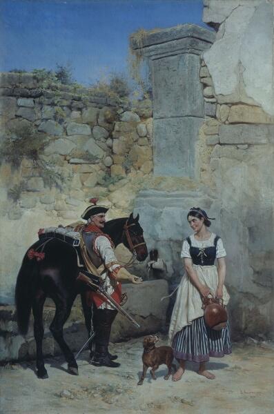 Б. П. Виллевальде, «Сцена у колодца», 1890 г.