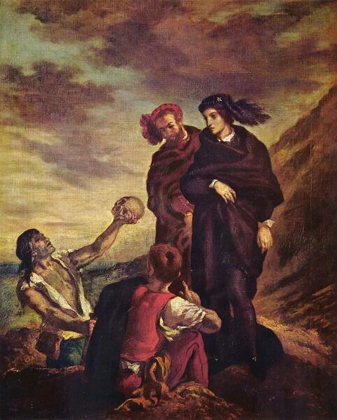 Эжен Делакруа, «Гамлет и Горацио на кладбище», 1839 г.