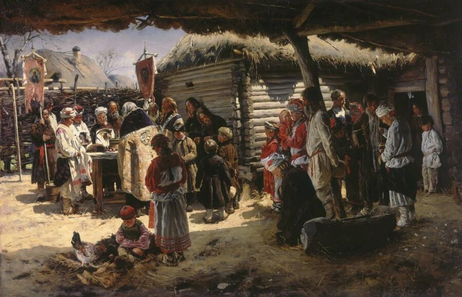 В. Е. Маковский, «Молебен на Пасху», 1888 г.