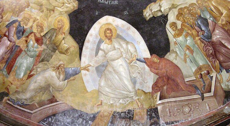 Сошествие во ад (фреска монастыря Хора, XIV век)