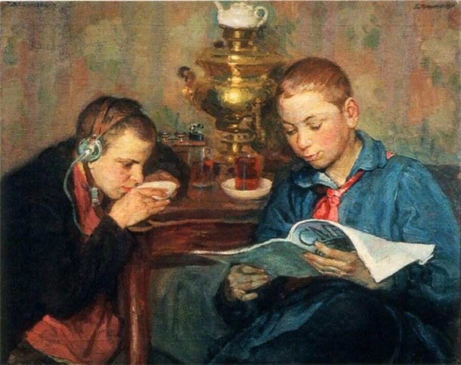 Б. Е. Владимирский, «Пионеры слушают радио», 1924 г.