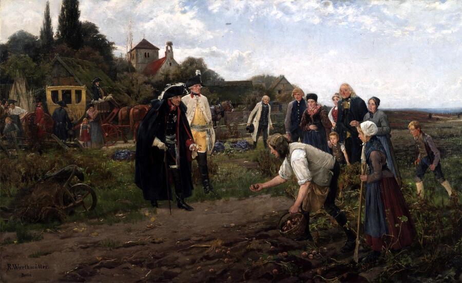 Роберт Вартмюллер, «Король повсюду: Фридрих II проверяет урожай картофеля», 1886 г.