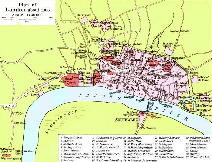 План Лондона 1300 г.
